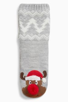 Reindeer Slipper Socks (Older Boys)