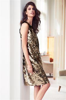 Расклешенное платье с блестками