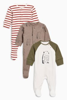 Bears Sleepsuit Three Pack (0个月-2岁)