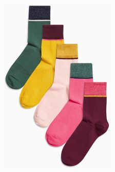 Sparkle Stripe Ankle Socks Five Pack