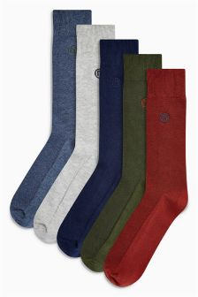 Textured Embroidered Socks Five Pack