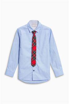Shirt With Tartan Tie (3-16yrs)