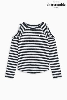 Abercrombie & Fitch Stripe Cold Shoulder Top