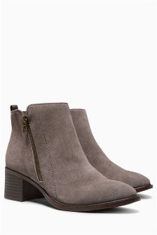 Casual Zip Detail Ankle Boots
