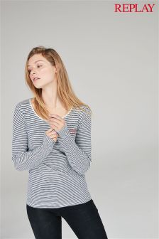 Replay® White/Navy Stripe Long Sleeve Top