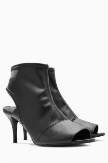 Peep Toe Kitten Shoe Boots