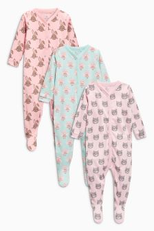 Animal Print Sleepsuits Three Pack (0mths-2yrs)