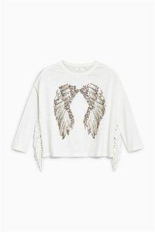 Studded Angel Wings Long Sleeve Top (3-16yrs)