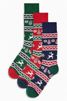 Fairisle Pattern Stag Socks Three Pack