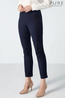 Темно-синие укороченные хлопковые брюки из эластичной ткани Pure Collection