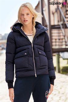Granatowy płaszcz Exclusive To Label Superdry Lux Duvet