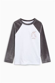 Velvet Raglan Unicorn Long Sleeve T-Shirt (3-16yrs)