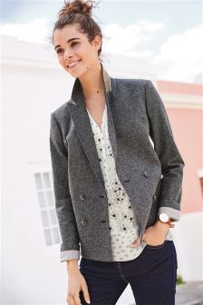 Neppy Texture Double Breasted Blazer