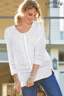 Fat Face White Penny Broderie Blouse