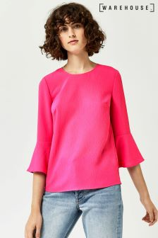 Warehouse Pink Fluted Sleeve Crinkle Top