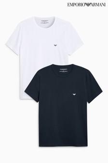 Biała i granatowa koszulka w zestawie Emporio Armani