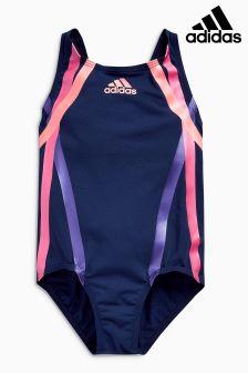 Купальник контрастной темно-синей и розовой расцветки adidas