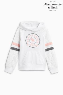 Abercrombie & Fitch White Logo Hoody