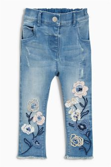 Flower Embellished Jeans (3mths-6yrs)