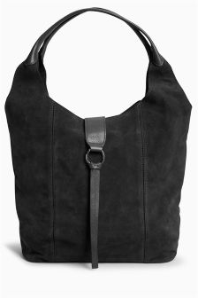 Suede Ring Detail Hobo Bag