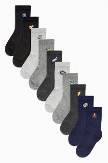 Embroidered Socks Ten Pack (Older Boys)