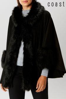 Coast Black Bostock Faux Fur Cape