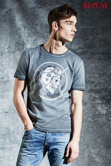 Replay® Black Washed Out Graphic Tee