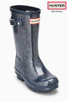 Hunter Navy Glitter Boot