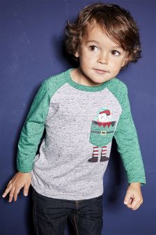 Christmas Pocket Elf Long Sleeve Raglan T-Shirt (3mths-6yrs)