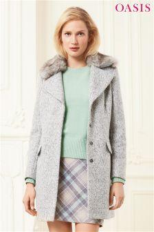 Szary płaszcz z włóczki boucle Oasis Freya