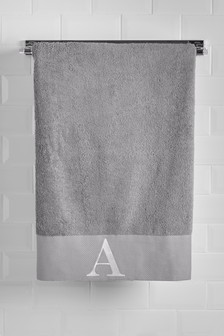 Grey Initial Bath Towel
