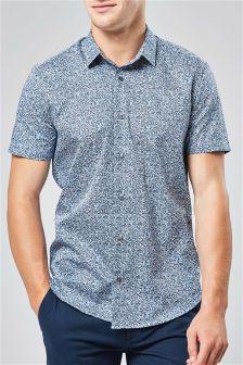 半袖小花柄プリントシャツ