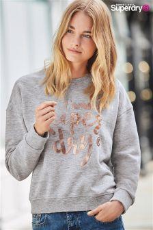Superdry Lofoton Grey Marl Northern Lights Fashion Crew