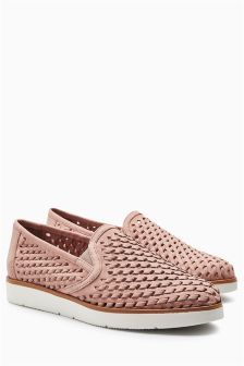Woven Leather EVA Slip-Ons