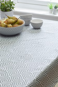 Geo Grey Wipe Clean PVC Tablecloth