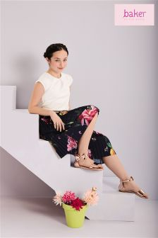 Baker By Ted Baker Younger Girl Pleated Floral Culotte