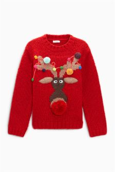 Girls Christmas Reindeer Jumper (3-16yrs)