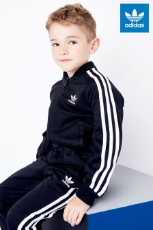 adidas Originals Little Kids Black 3-Stripe Tracksuit
