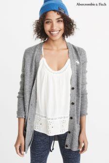 Abercrombie & Fitch Grey Logo Knit Cardigan