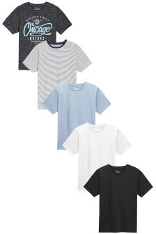 Crew Neck T-Shirts Five Pack