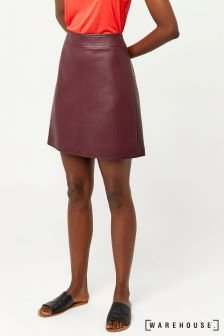 Warehouse Burgundy Faux Leather Clean Skirt