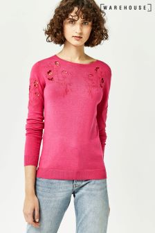 Warehouse Bright Pink Cut Out Embroidered Jumper