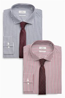 Рубашки приталенного кроя в бенгальскую полоску с галстуком (2 шт.)
