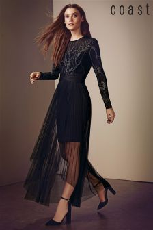 Coast Black Beauty Embroidered Tulle Dress