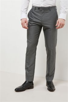 Polka Dot Slim Fit Suit: Trousers