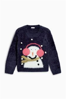 Girls Christmas Snowman Jumper (3-16yrs)