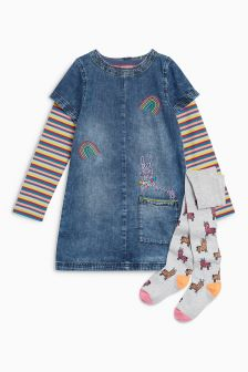 Dress With T-Shirt And Tights Set (3mths-6yrs)