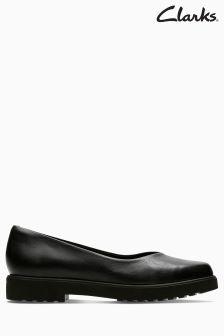Clarks Black Leather Bellevue Comfort Flat Shoe