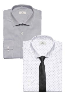 Slim Fit Shirts With Tie Two Pack