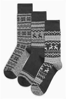 Fairisle Pattern Stag Socks Three Pack
